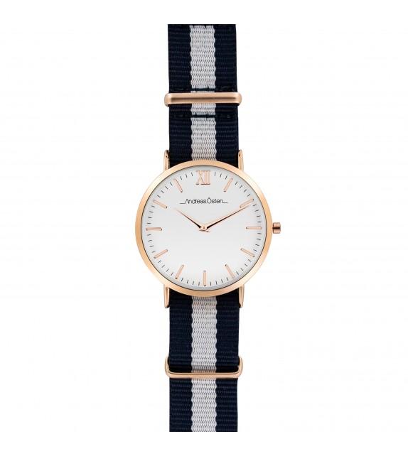 Montre homme Andreas Osten cadran 40 mm en acier blanc et bracelet bleu et blanc en nylon