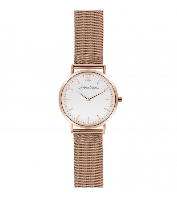 Montre femme Andreas Osten cadran 36 mm en acier blanc et bracelet rose doré en maille