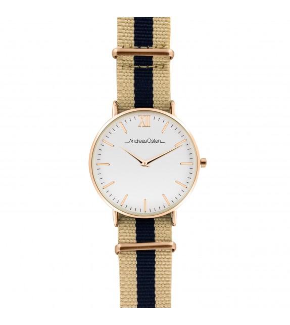 Montre femme Andreas Osten cadran 36 mm en acier blanc et bracelet bleu et rose en nylon