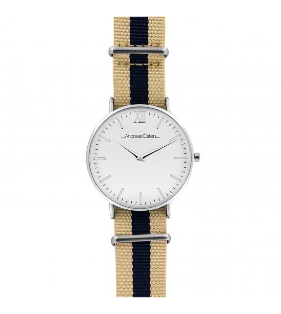 Montre femme Andreas Osten cadran 36 mm en acier blanc et bracelet beige et bleu marine en nylon