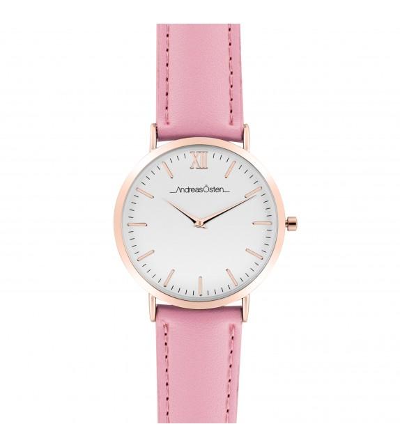 Montre femme Andreas Osten cadran 40 mm en acier blanc et bracelet rose en cuir