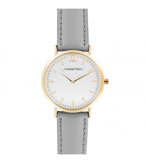 Montre femme Andreas Osten cadran 40 mm en acier blanc et bracelet gris en cuir