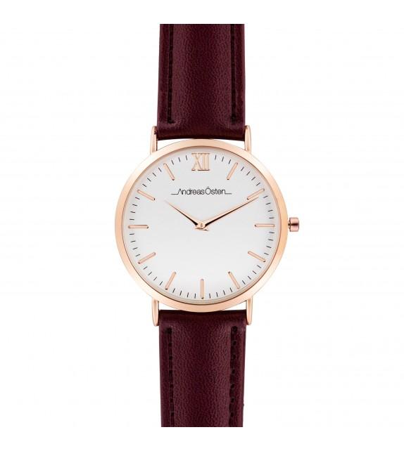 Montre femme Andreas Osten cadran 36 mm en acier blanc et bracelet rouge en tweed