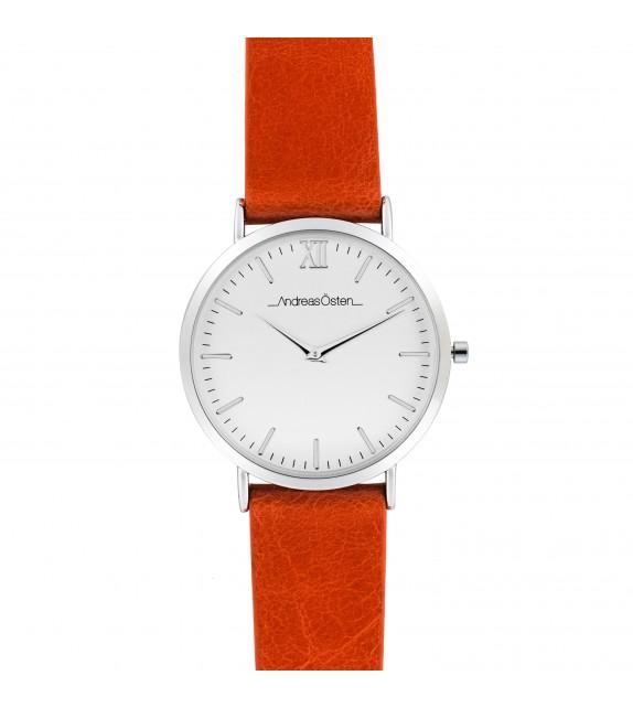 Montre femme Andreas Osten cadran 36 mm en acier blanc et bracelet orange en cuir
