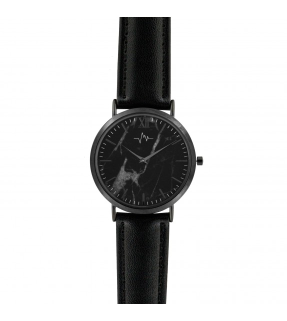 Montre femme Andreas Osten cadran 36 mm en acier gris et noir et bracelet noir en cuir