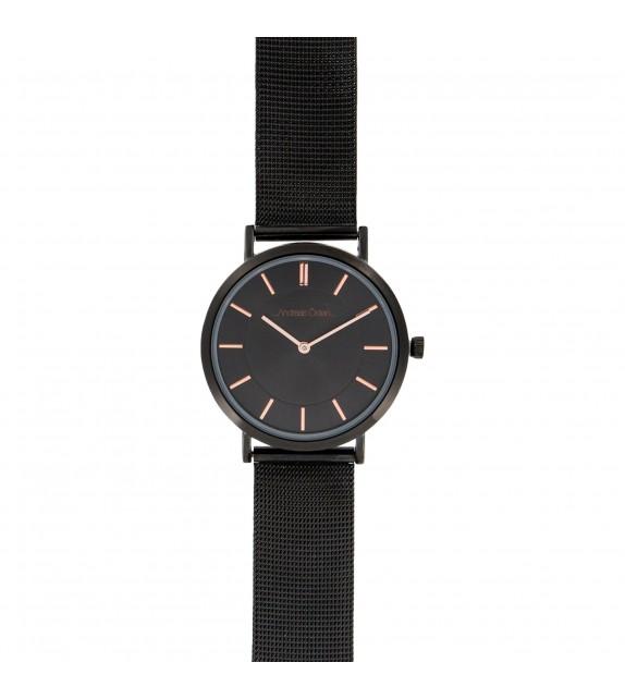 Montre femme Andreas Osten cadran 36 mm en acier noir et bracelet noir en maille