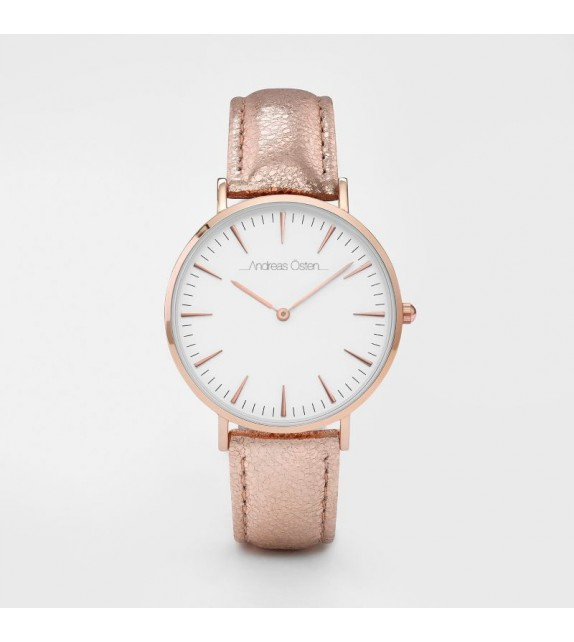 Montre femme Andreas Osten cadran 36 mm en acier blanc et bracelet rose en cuir