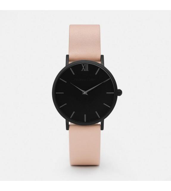 Montre femme Andreas Osten cadran 36 mm en acier noir et bracelet rose en cuir