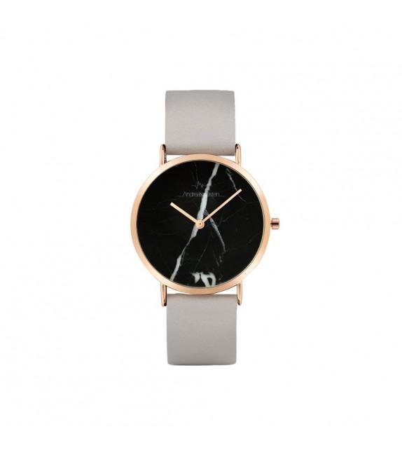 Montre femme Andreas Osten cadran 36 mm en acier gris et noir et bracelet gris en cuir