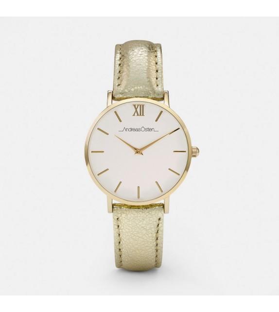 Montre femme Andreas Osten cadran 36 mm en acier blanc et bracelet doré en cuir