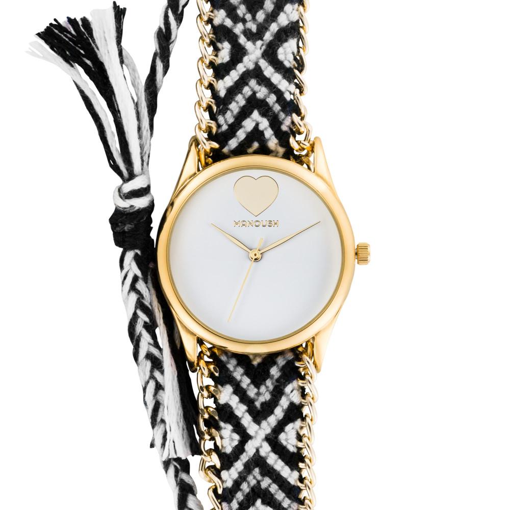 Montre femme Manoush cadran 35 mm en acier blanc et bracelet multicolore en tissu et chaîne