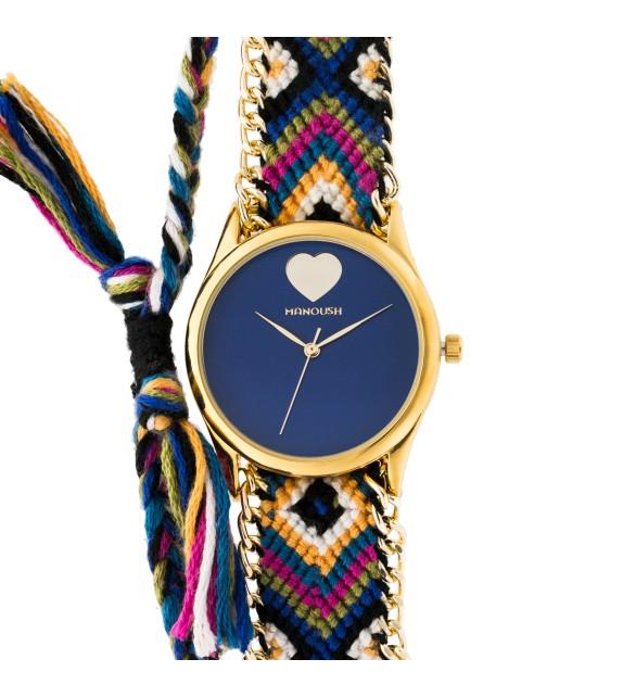 Montre femme Manoush cadran 35 mm en acier bleu et bracelet multicolore en tissu et chaîne