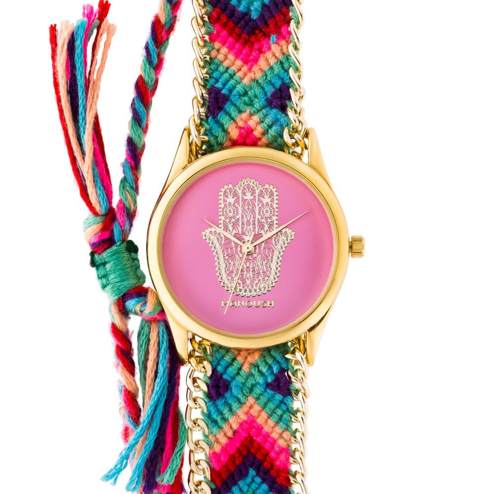 Montre femme Manoush cadran 35 mm en acier rose et bracelet multicolore en tissu et chaîne