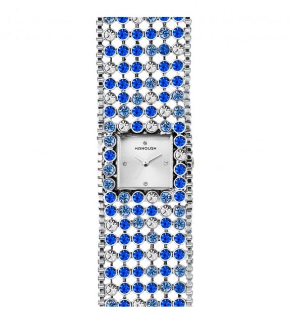 Montre femme Manoush cadran 28 mm en acier argenté et bracelet bleu argenté en acier