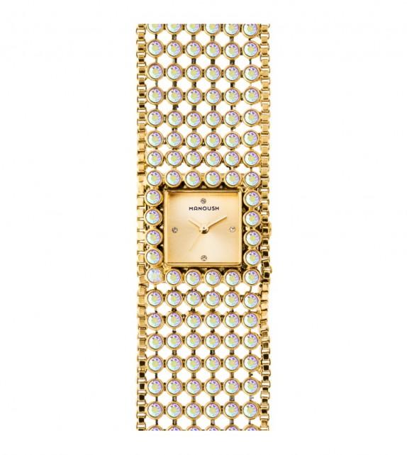 Montre femme Manoush cadran 28 mm en acier doré et bracelet doré en acier