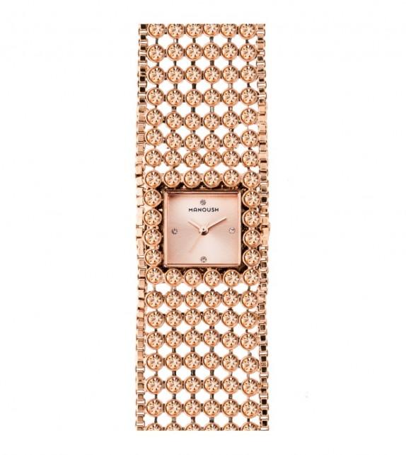 Montre femme Manoush cadran 28 mm en acier rose doré et bracelet rose doré en acier