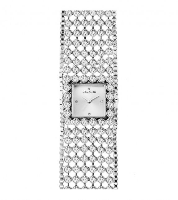 Montre femme Manoush cadran 28 mm en acier argenté et bracelet argenté en acier