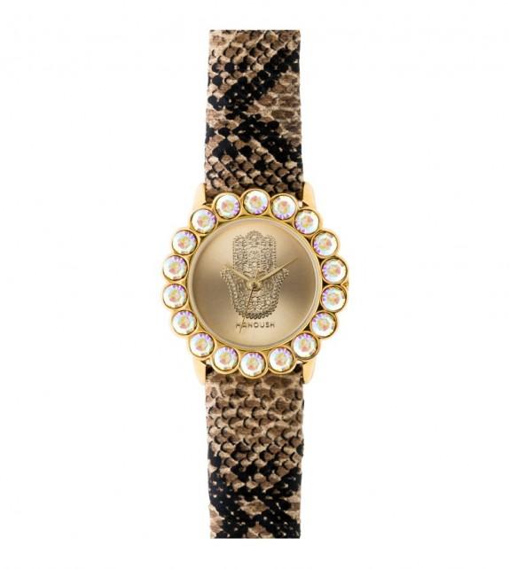 Montre femme Manoush cadran 32 mm en acier doré et bracelet marron en pu