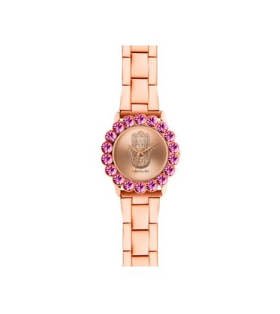 Montre femme Manoush cadran 32 mm en acier rose doré et bracelet rose doré en acier