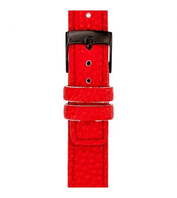 Bracelet mixte La Trotteuse en cuir rouge