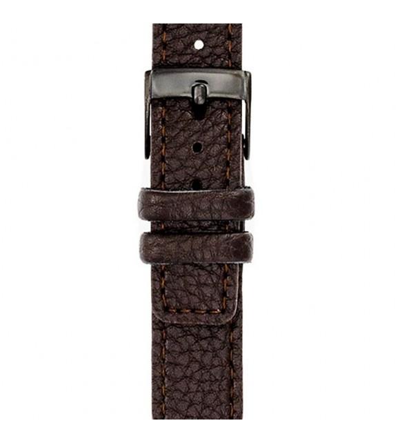 Bracelet mixte La Trotteuse en cuir marron
