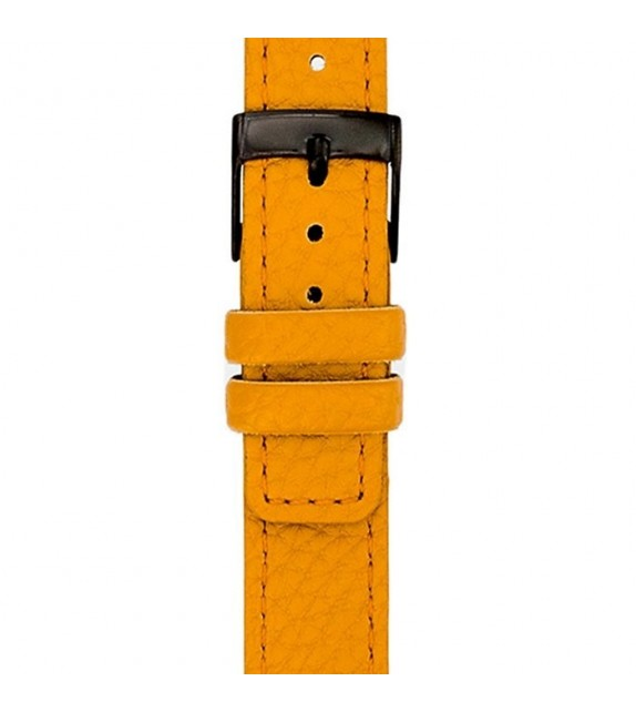 Bracelet mixte La Trotteuse en cuir jaune