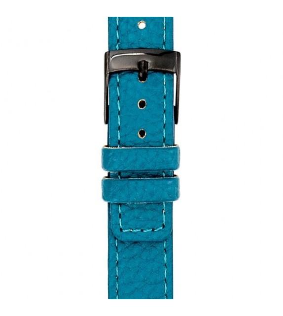 Bracelet mixte La Trotteuse en cuir turquoise