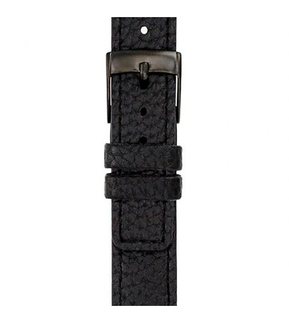 Bracelet mixte La Trotteuse en cuir noir