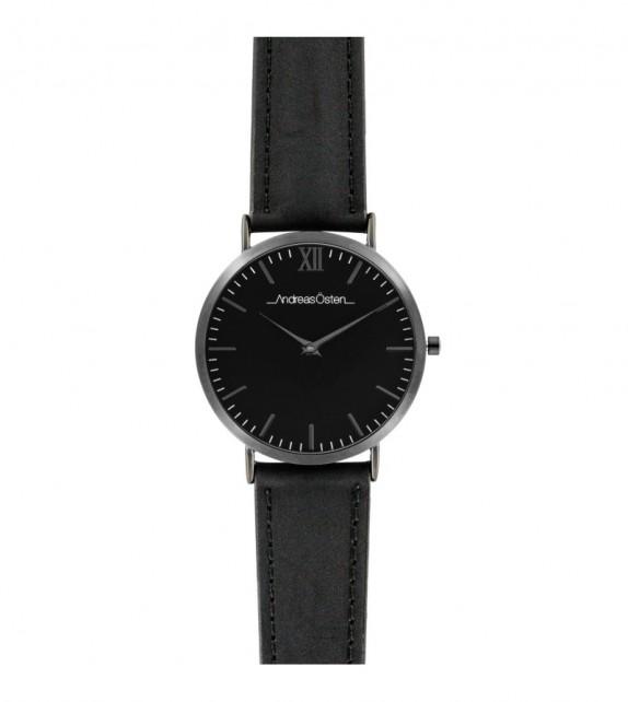 Montre femme Andreas Osten cadran 36 mm en acier noir et bracelet noir en cuir