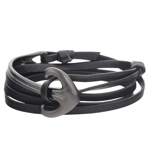 Bracelet mixte Andreas Osten en cuir noir