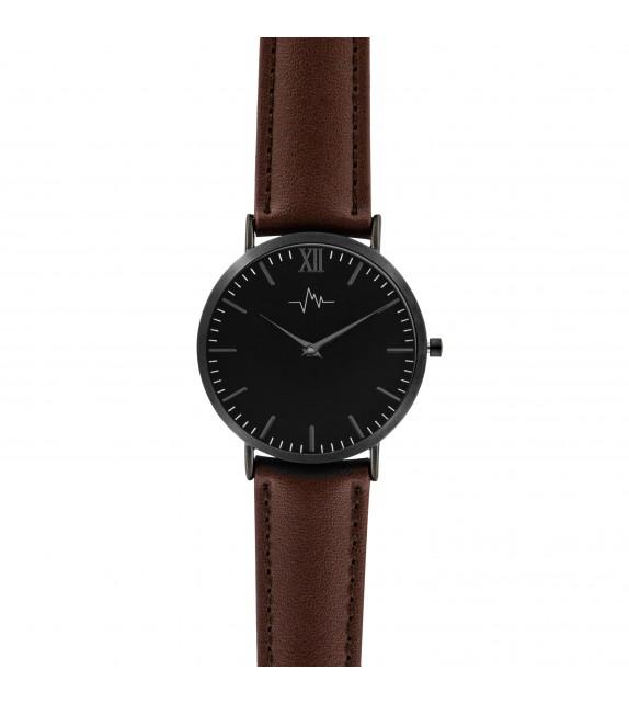 Montre femme Andreas Osten cadran 36 mm en acier noir et bracelet marron en cuir