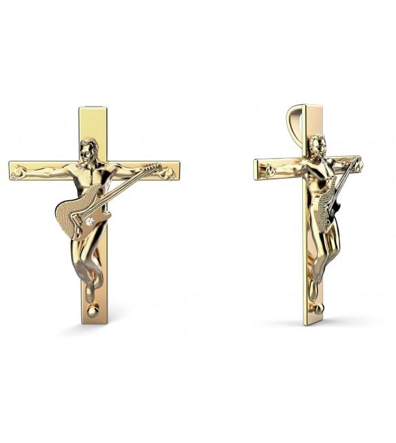Croix du rockeur éternel Or 375/00 et diamant