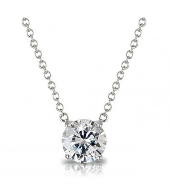 Collier or blanc 375/00 et diamant