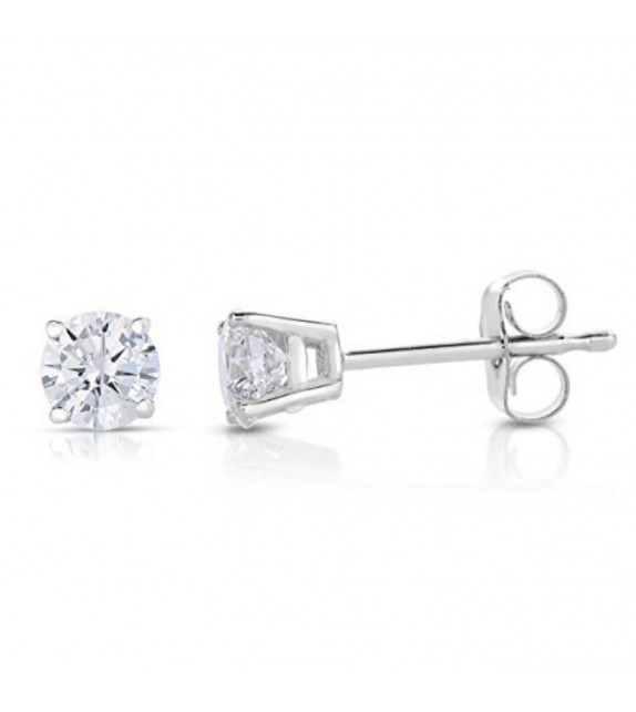 Boucles oreilles or blanc 375/00 et diamants