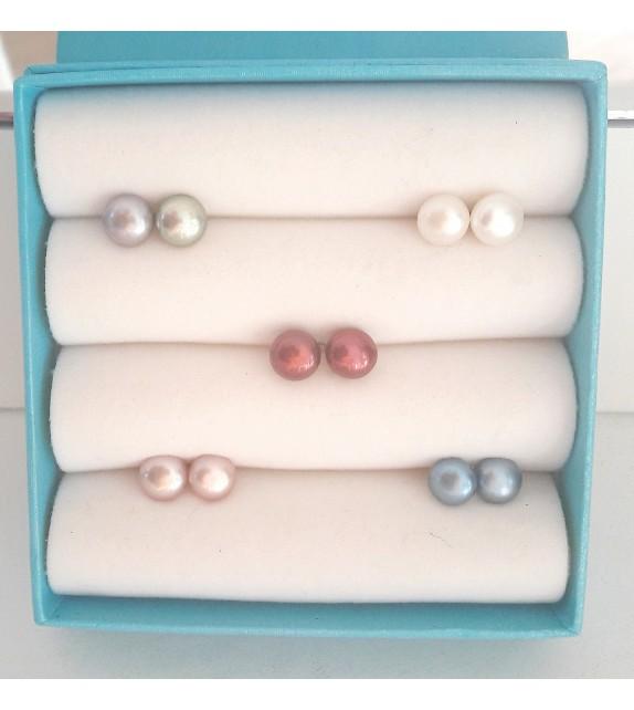 5 paires de boucles oreilles argent 925 et perles d'eau douce forme aplaties